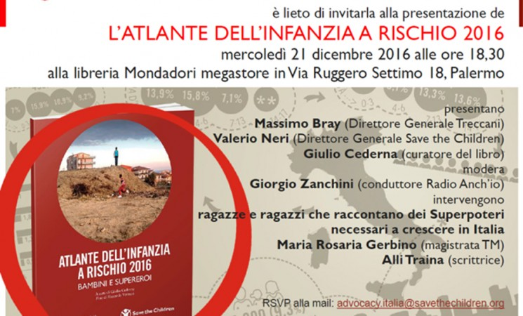 Save the Children presenta a Palermo l'Atlante dell'Infanzia (a Rischio)