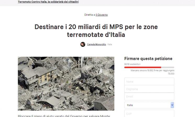 Destinare i 20 miliardi di Monte Paschi Siena per le zone terremotate